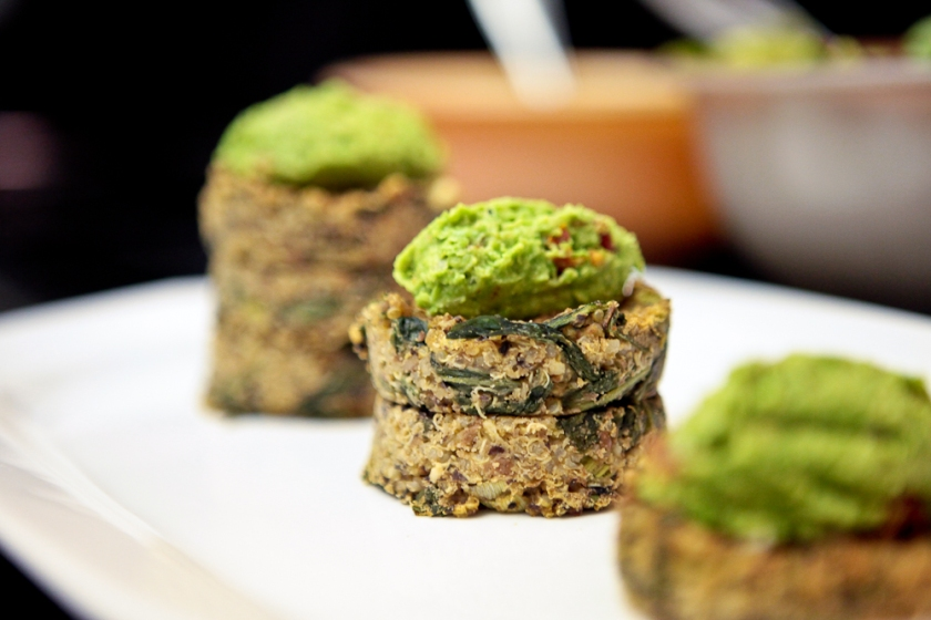 Dandelion & Bean Quinoa Cakes with Peasamole